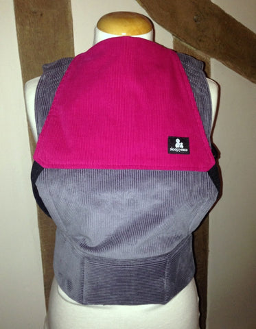 Comfy Cord in grey and hot pink - Toddler Size Carrier