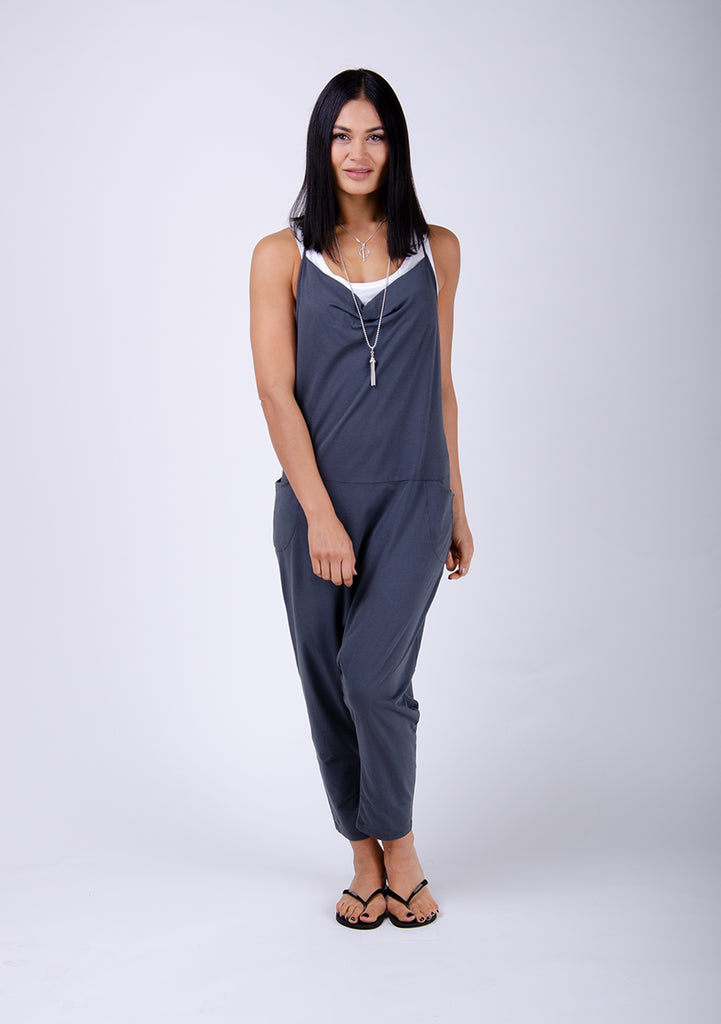 Cindy Jersey-Overall - Charcoal - latzhosen-online