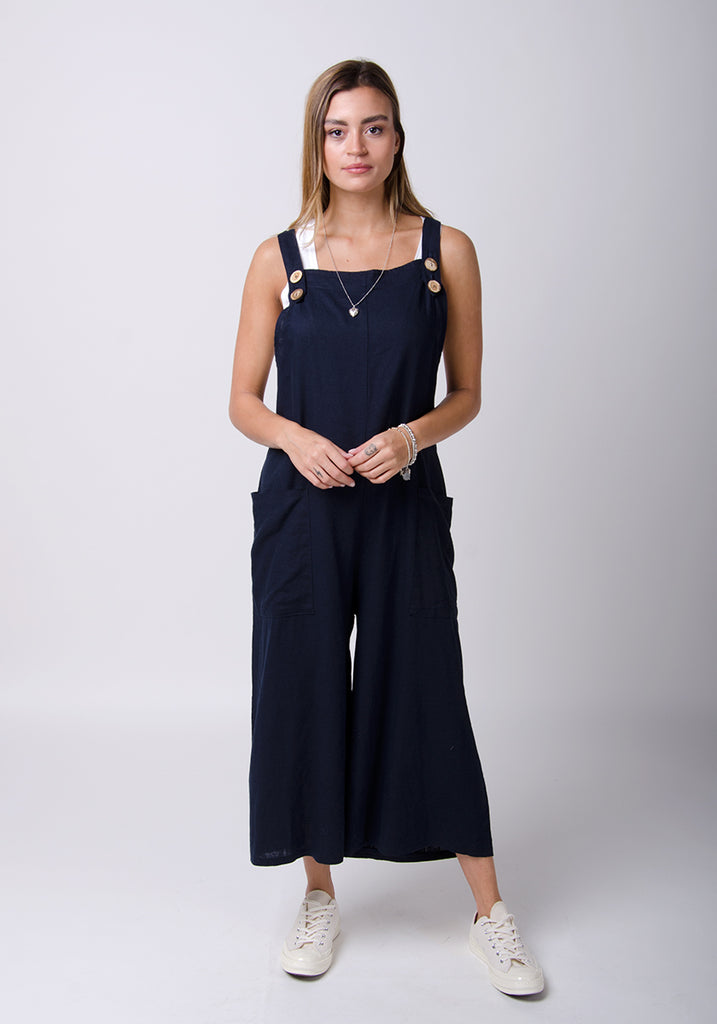 Saffy Leinen Latzhose, Loose Fit - Marineblau