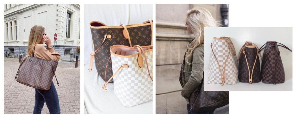 Louis Vuitton Neverfull bag in Monogram, Damier Ebene and Damier Azur Canvas