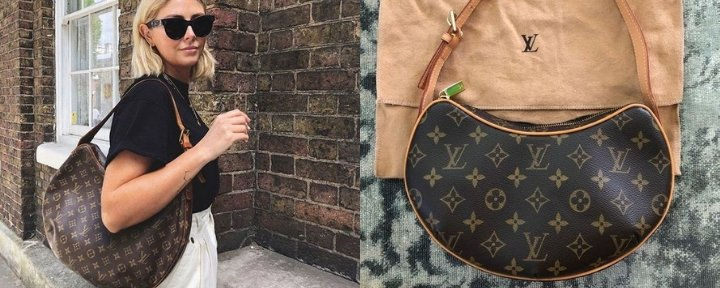 Louis Vuitton Croissant on girl outfit and close up