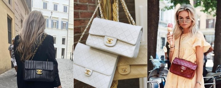 Three photo's of different styles of the Chanel Classic Flap bag.