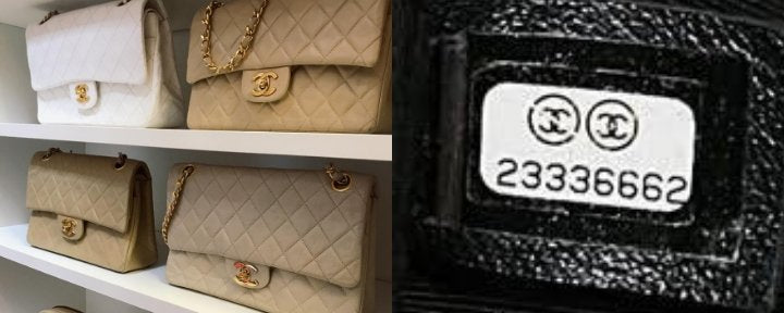 Showing a collection of Chanel bags on the left, and a close up of a Chanel serial number, or date code, on the right.