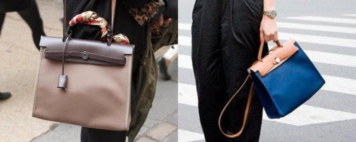 The Hermès Herbag in beige/sand and one in dark blue.