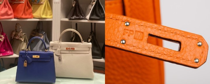 On the right; a collection of Hermès bags. On the left; showing what the date stamp of Hermès looks like inside of the bag.