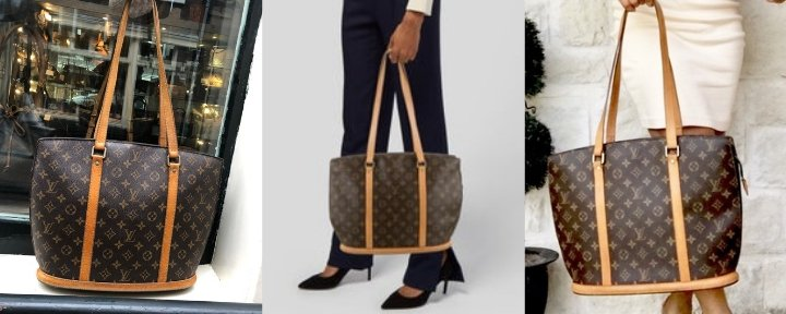 Three photo's of the Louis Vuitton Babylone Tote in the classic Monogram canvas.