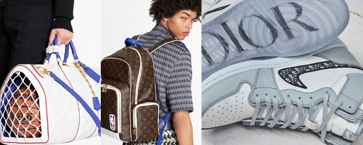 Designer collaborations Louis Vuitton x NBA and Dior x Nike