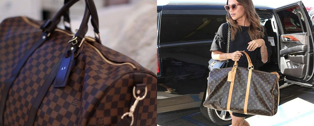 Louis Vuitton Keepall in Damier Ebene and a celebrity with a Keepall travel bag
