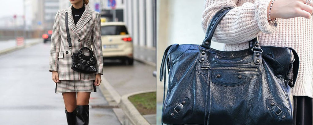 Two photo's of girls posing with the Balenciaga Classic City bag.