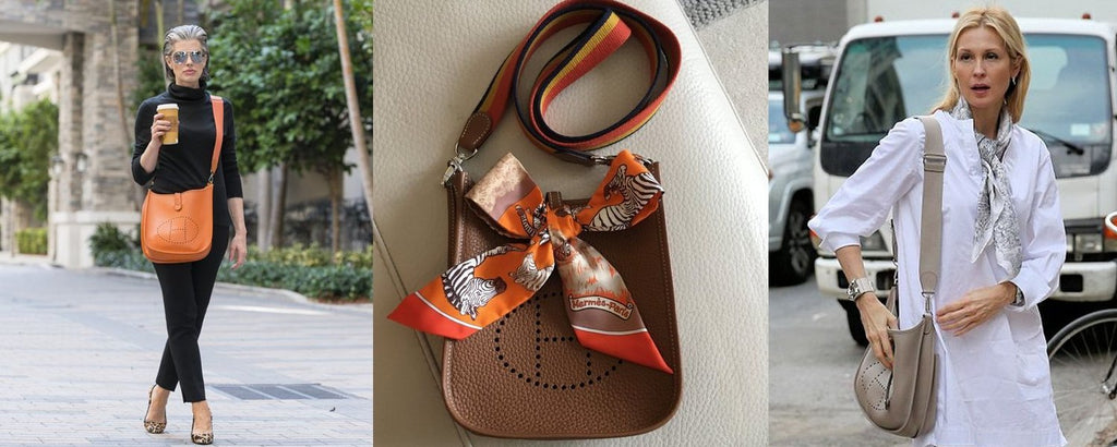 Hermès Evelyne bags worn in different ways, also with scarf, in different colors and leather types