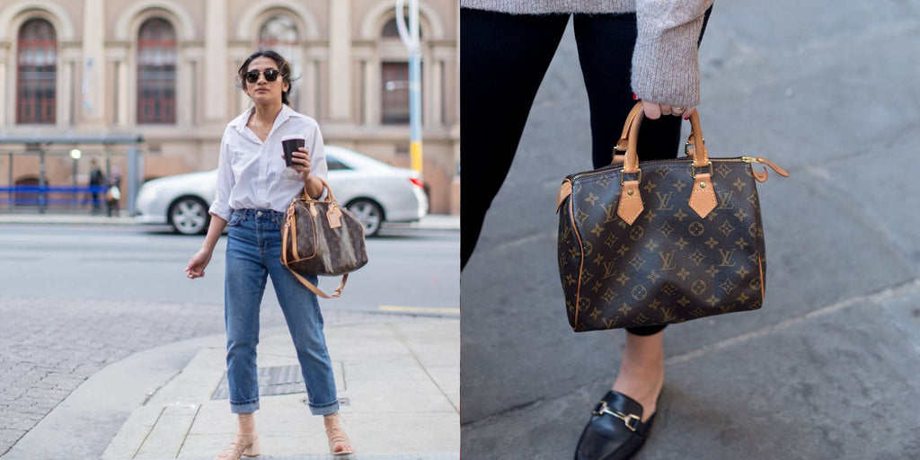 Girls wearing the Louis Vuitton Speedy bag in Monogram canvas Bandoulière