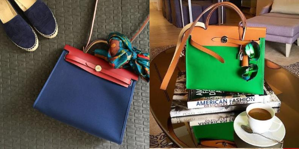 The Hermès Herbag in a red and blue combination on the left. And an orange and green combination on the right.
