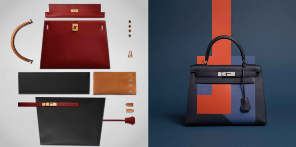 The different pieces making up the Hermès Kelly. Showing what goes into the design.