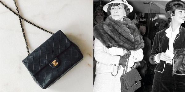 Coco Chanel with her Classic Flap Bag, designed in 1055