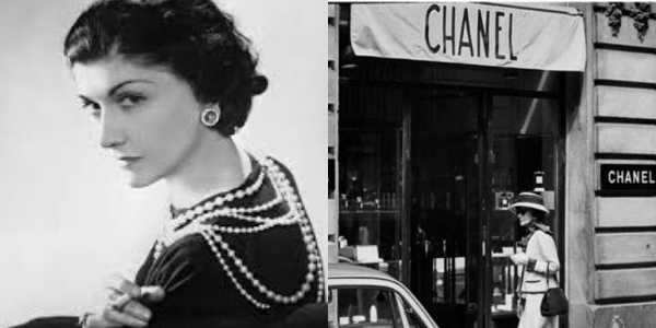 Photo of Coco Chanel and her first shop in Paris