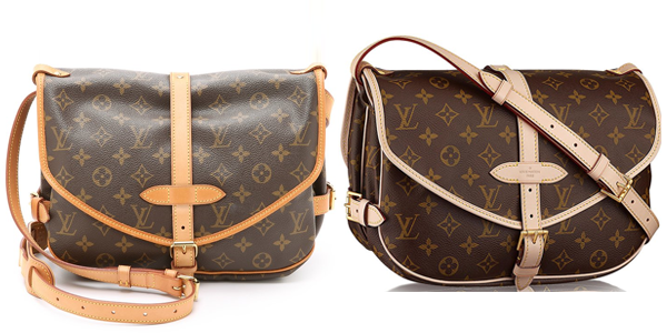 Louis Vuitton Saumur cross body i vintage og ny sammenligning