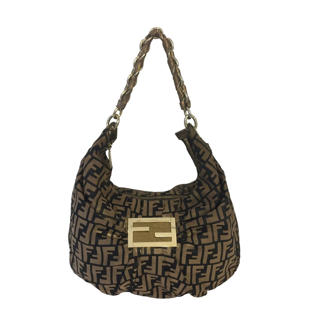 Fendi Fendi Mia Hobo Bag Tabacco brown Zucca Canvas - Shoulder bags - Etoile Luxury Vintage