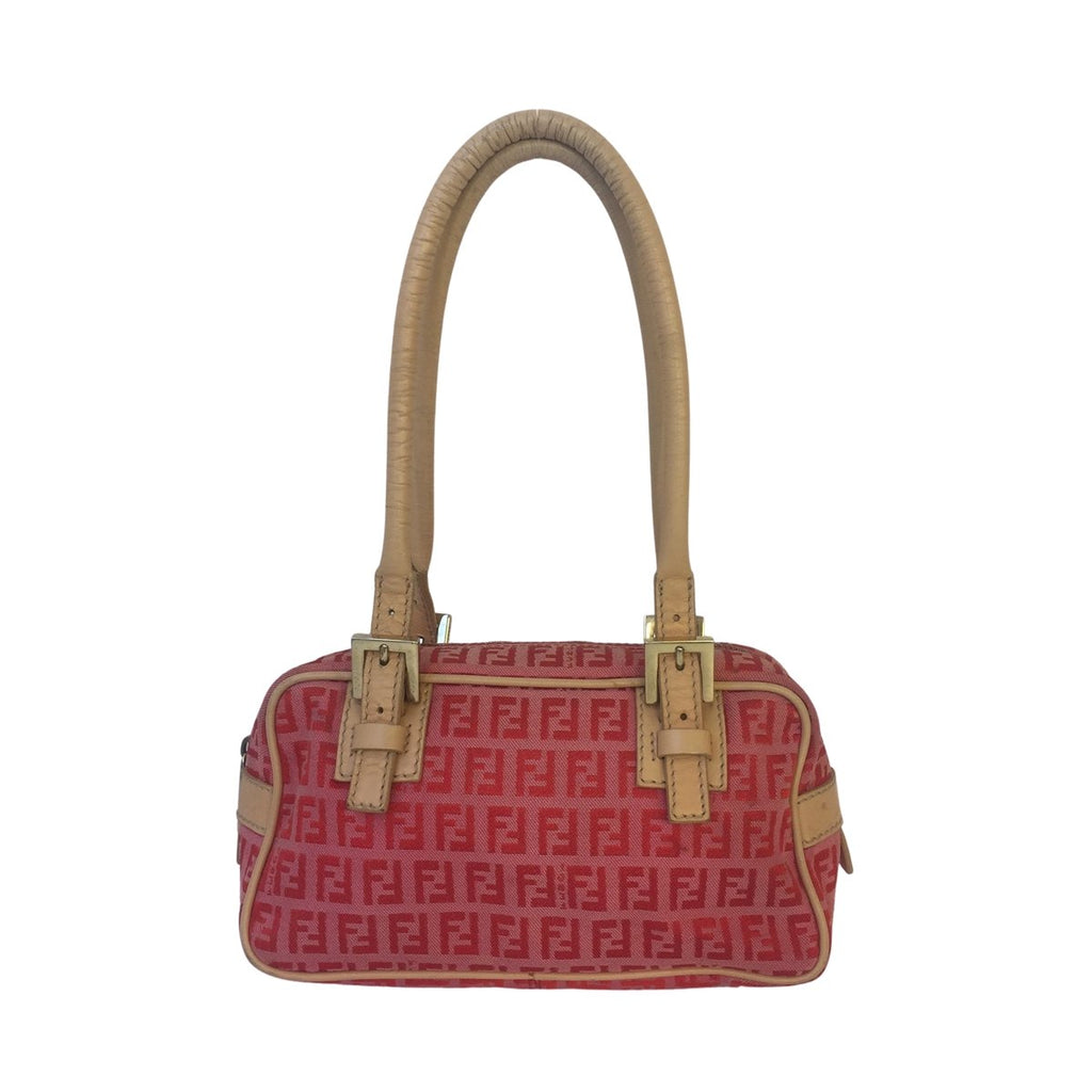 Fendi Fendi Shoulder Bag red and pink Zucchino Canvas - Shoulder bags - Etoile Luxury Vintage