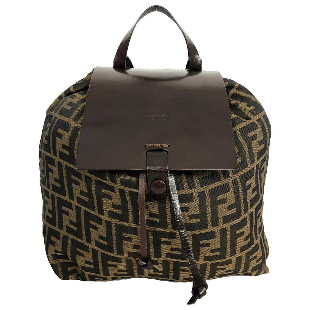 Fendi Backpack Zucca Monogram Brown Nylon and Leather - Backpacks - Etoile Luxury Vintage