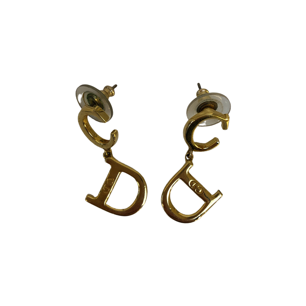 Dior Gold Logo Letters Pendant Earrings Gold Plated