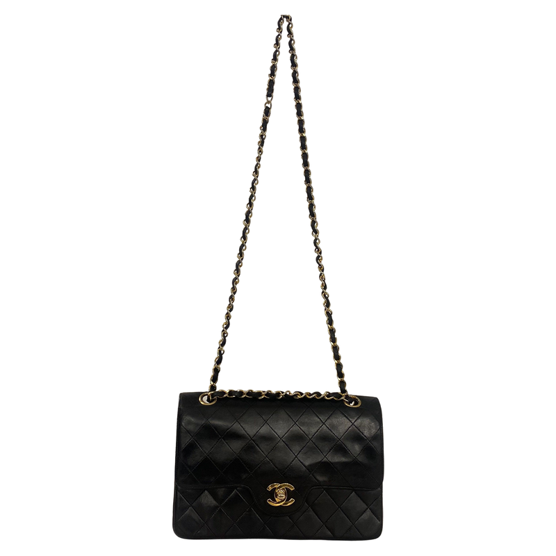Chanel Chanel Classic Flap Bag Small black Lambskin Leather - Shoulder bags - Etoile Luxury Vintage