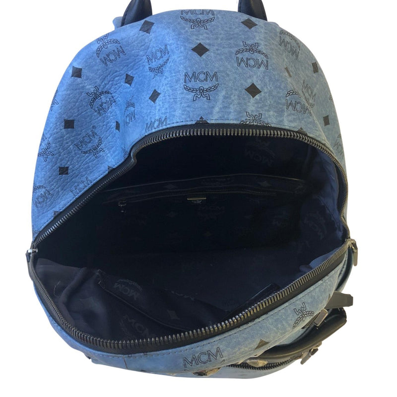 MCM MCM Starked Studded Backpack blue Coated Canvas - Backpacks - Etoile Luxury Vintage