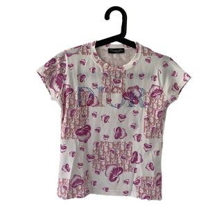 Dior Dior Floral Logo T-shirt pink and white Cotton - Clothing - Etoile Luxury Vintage