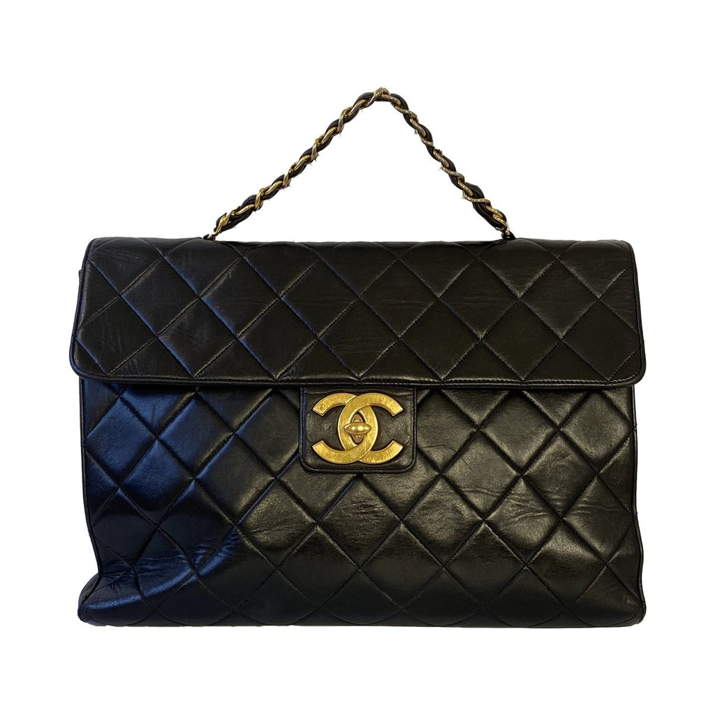 Chanel Chanel Classic Handbag Short Handle black Lambskin Leather - Handbags - Etoile Luxury Vintage
