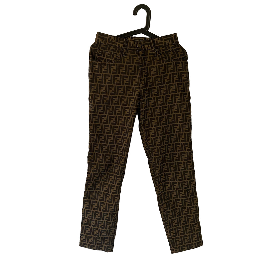 Fendi Fendi FF Zucca Logo Pants brown Polyester and Cotton - Clothing - Etoile Luxury Vintage