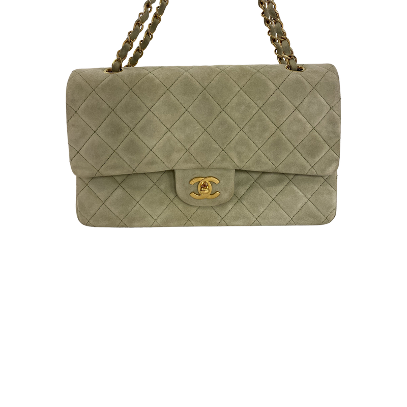 Chanel Chanel Classic Flap Bag Medium Quilted mint green Suede - Shoulder bags - Etoile Luxury Vintage