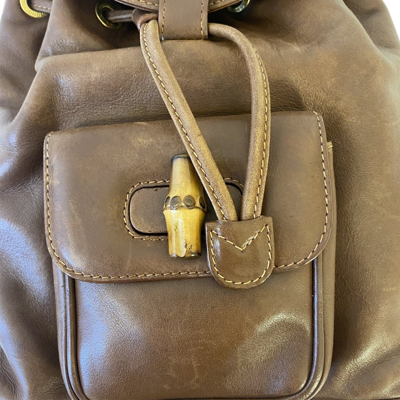 Gucci Gucci Bamboo Backpack Small brown Leather - Backpacks - Etoile Luxury Vintage