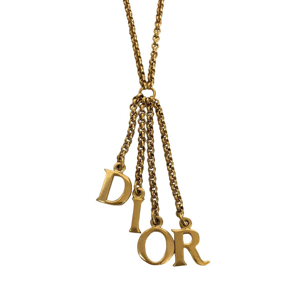 Dior Dior Logo Letters Necklace Gold Plated - Jewelry - Etoile Luxury Vintage