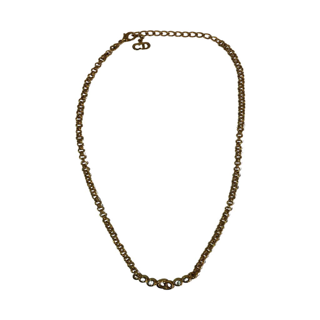 Dior Logo Necklace Gold Plated