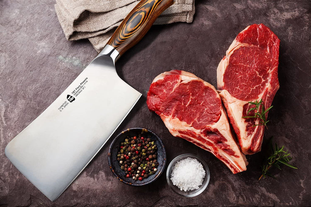TUO Cleaver Knife - 6 inch Chinese Chopping Knife - Chinese Cleaver - German X50CrMoV15 Steel Knives - Meat Vegetable Chopper - Pakkawood Handle - Gift Box Included - Fiery Series