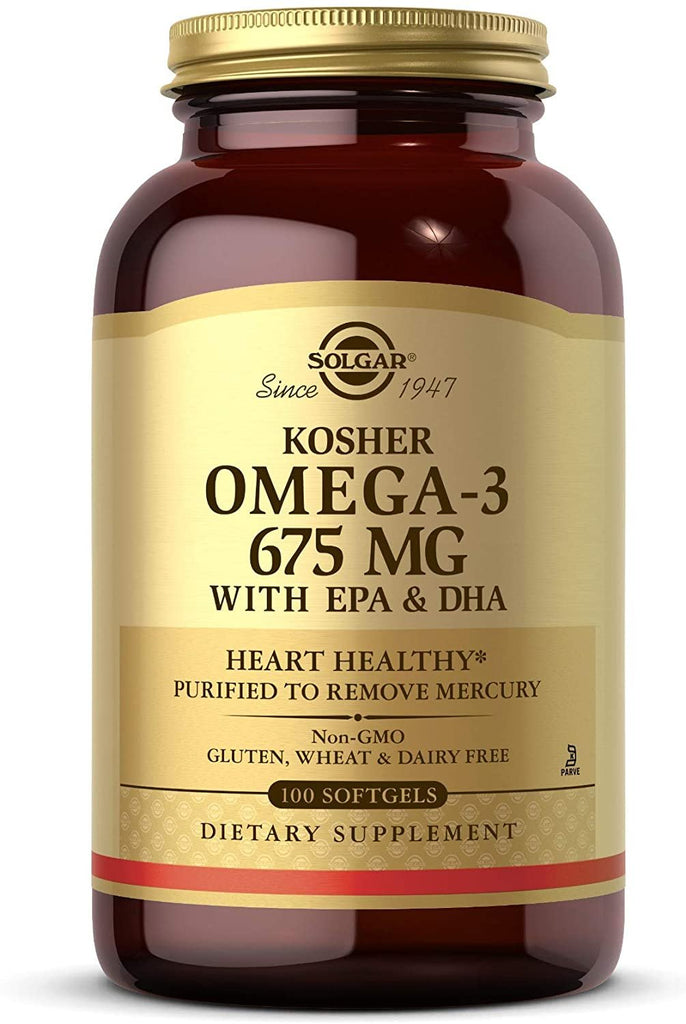 Solgar Kosher Omega-3 675 mg, 100 Softgels - Cardiovascular, Joint & Cellular Health - Concentrated Omega-3 Fatty Acids EPA & DHA - Non-GMO, Gluten Free, Dairy Free, Kosher - 100 Servings