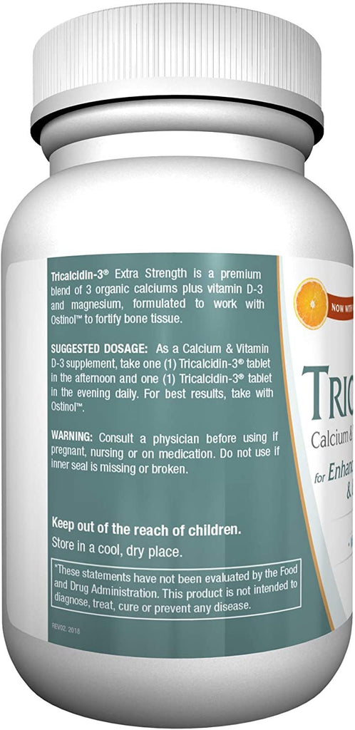 Tricalcidin-3 Extra Strength. Bone Tissue Fortification Support. Premium Blend of 3 Calciums.Complete Bone Health Tissue Support System.60 Capsules