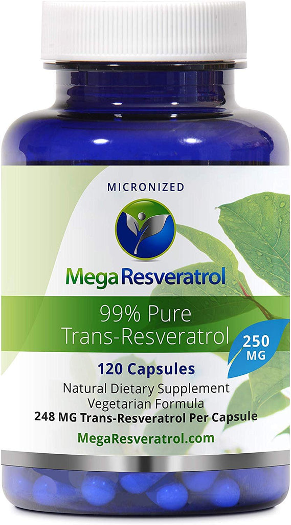 "Mega Resveratrol, Pharmaceutical Grade, 99% Pure, Micronized Trans-Resveratrol, 120 Capsules, 250 mg per Capsule. Purity Certified. Absolutely no Toxic ""Inactive Ingredients"" Added."