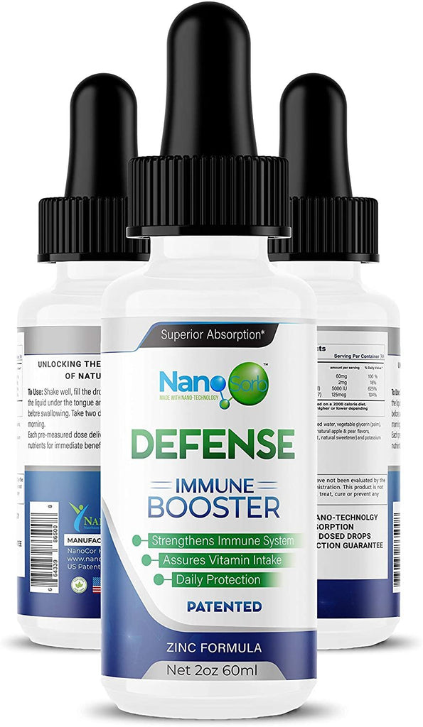 NanoSorb Defense Immune Booster - Natural Immunity Support Drops with Vitamin C, D3, K2 & Zinc - Non-GMO Easy to Absorb Liquid Supplement for Men & Women - USA Made Extra Strength Formula - 2 oz