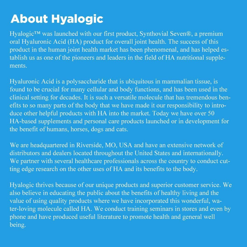Hyalogic Synthovial Seven Hyaluronic Acid Liquid - HA Joint Support - Vegan - 1 oz (Pack of 2)