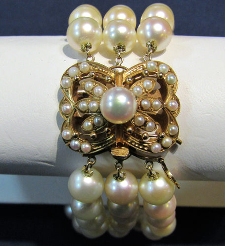 VINTAGE 14KT LAYKIN ET CIE AKOYA PEARL WITH AN ANTIQUE SEED PEARL CLASP