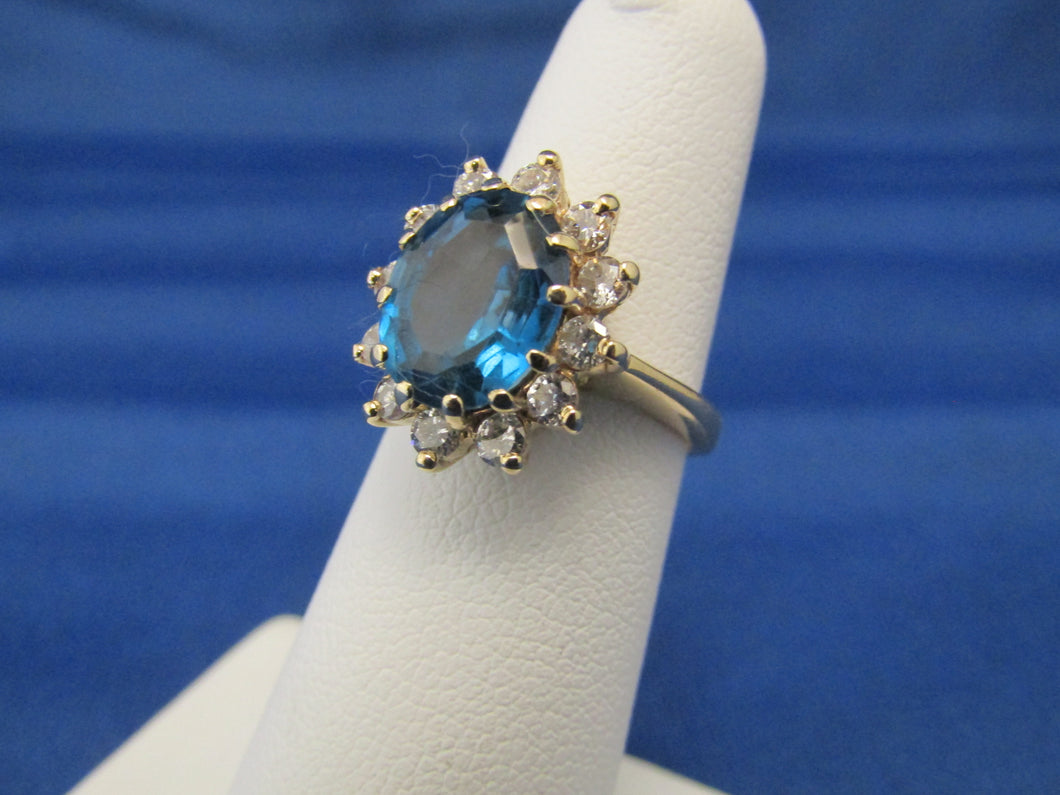 14KT YELLOW GOLD LONDON BLUE TOPAZ DIAMOND RING...COCKTAIL DESIGN