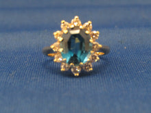 Load image into Gallery viewer, 14KT YELLOW GOLD LONDON BLUE TOPAZ DIAMOND RING...COCKTAIL DESIGN