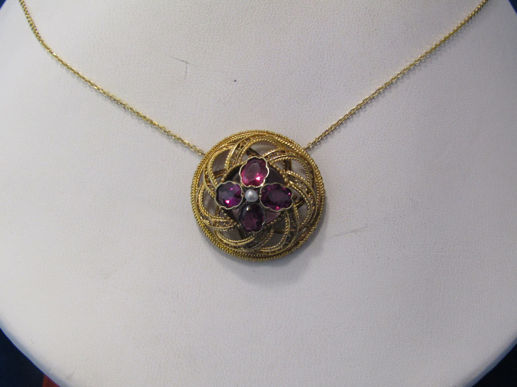 ANTIQUE GOLD, AMETHYST AND SEED PEARL PENDANT...ROUND INFINITY DESIGN