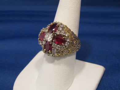 VINTAGE, 18KT YELLOW GOLD & WHITE GOLD RUBY DIAMOND CLUSTER RING
