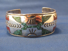Load image into Gallery viewer, VINTAGE, ZUNI INLAY TURQUOISE WIDE CUFF SILVER BRACELET