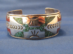 VINTAGE, ZUNI INLAY TURQUOISE WIDE CUFF SILVER BRACELET