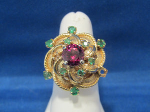 WONDERFUL RHODOLITE GARNET EMERALD RING...GREAT DESIGN, 1960'S
