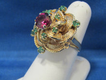 Load image into Gallery viewer, WONDERFUL RHODOLITE GARNET EMERALD RING...GREAT DESIGN, 1960'S