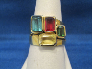 GEOMETRIC..COOL 1970'S MULTI COLOR TOURMALINE RING...STATEMENT PIECE!