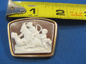 UNUSUAL SHAPE 14KT VINTAGE CARVED STONE CAMEO